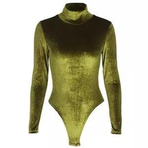 Tops - LAST 1 - Velvet turtleneck bodysuit Olive
